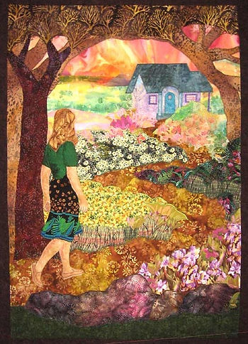 the welcoming girl walking toward house quilt