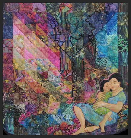 mother and child embracing in forest image