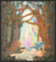 image of two women resting in moonlit forest