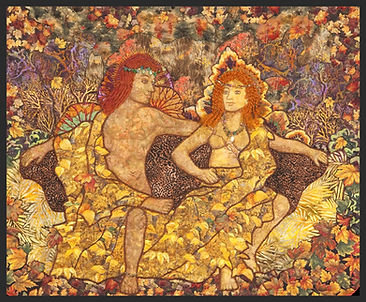 god and goddess enjoying the fall leaves