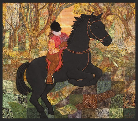 black horse with rider
