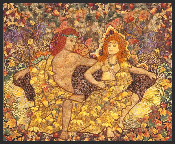king and queen of the fall, art quilt