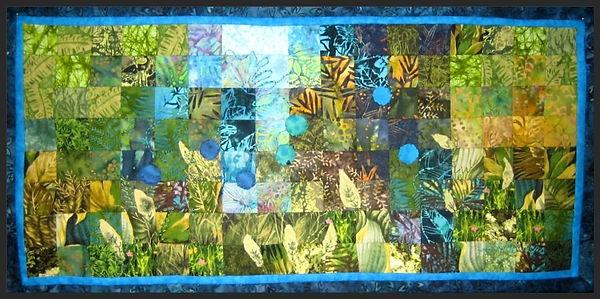 green grasses, blue flowers art quilt