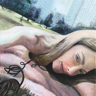 ragazza americana in un parco a Chicago