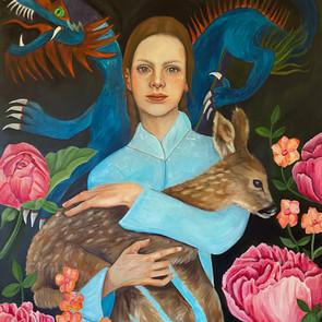 La ragazza che protegge il cerbiatto