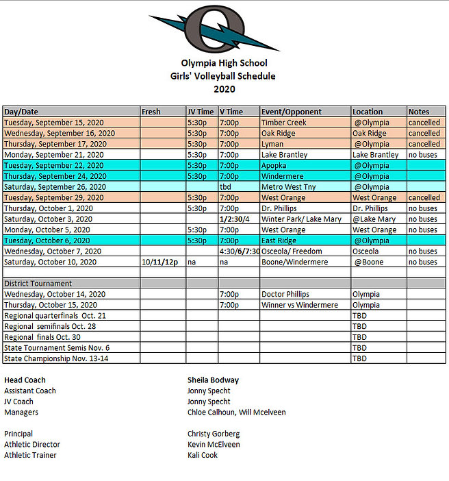 Olympia official Volleyball Schedule Oct