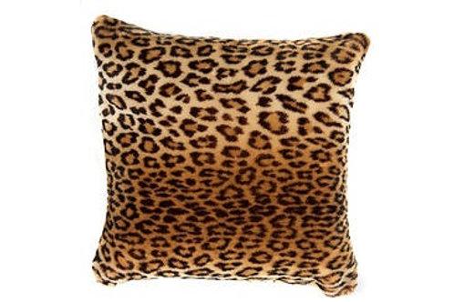 Coussin léopard bi-fourrure