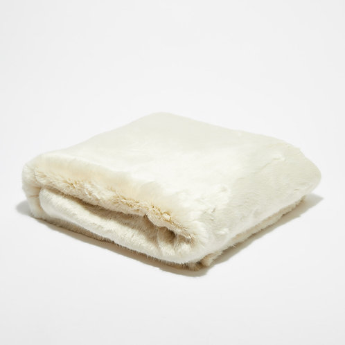 Plaid Fausse fourrure Blanc Neige