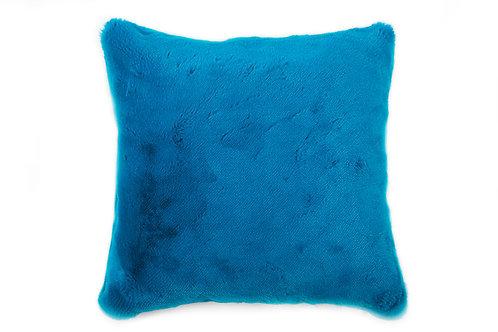 Coussin Teddy turquoise bi-fourrure