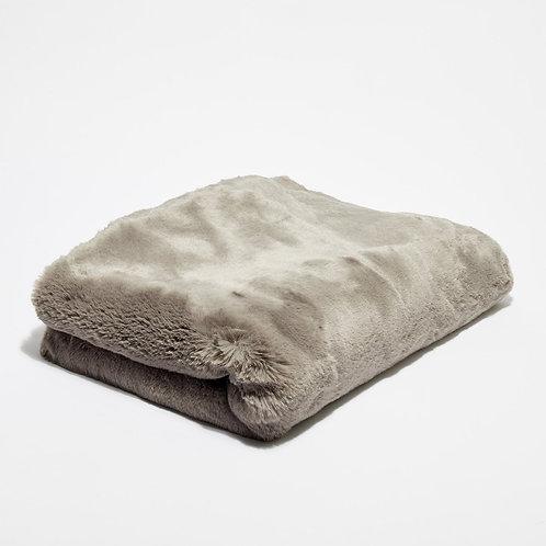 Bout de lit fausse fourrure Gris Taupe