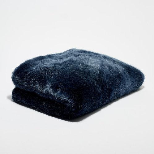 Bout de lit fausse fourrure Bleu Nuit