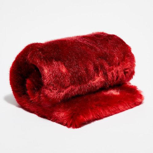 Bout de lit fausse fourrure Rouge