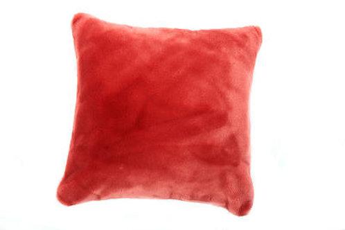 Coussin Teddy rouge bi-fourrure