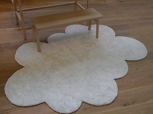 Petit tapis nuage blanc soie et coton