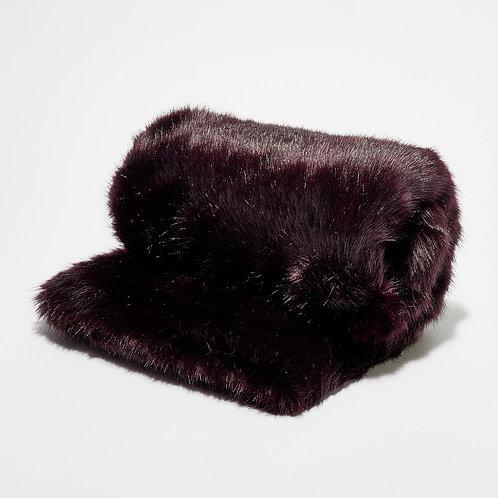 Bout de lit fausse fourrure Noir Prune
