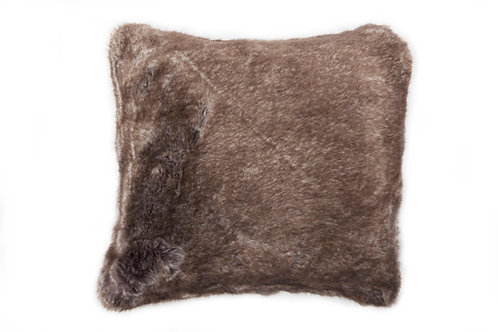 Coussin vanoise gris/blanc doublé de velours gris