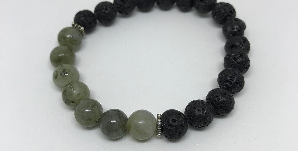 Gray - Green Labradorite & Lava Bracelet