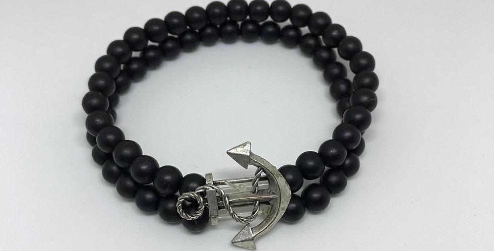 Matte Onyx & Anchor Bracelet