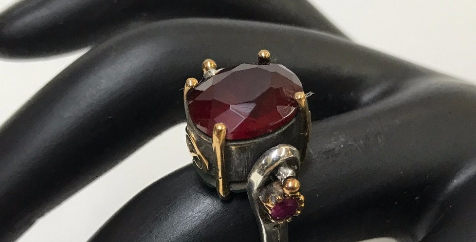 Authentic Ruby-Emerald Double Sided Turkish Silver Ring