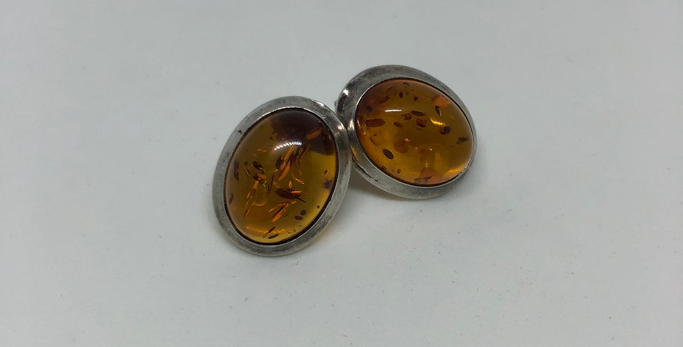 Amber Antique Silver Earring