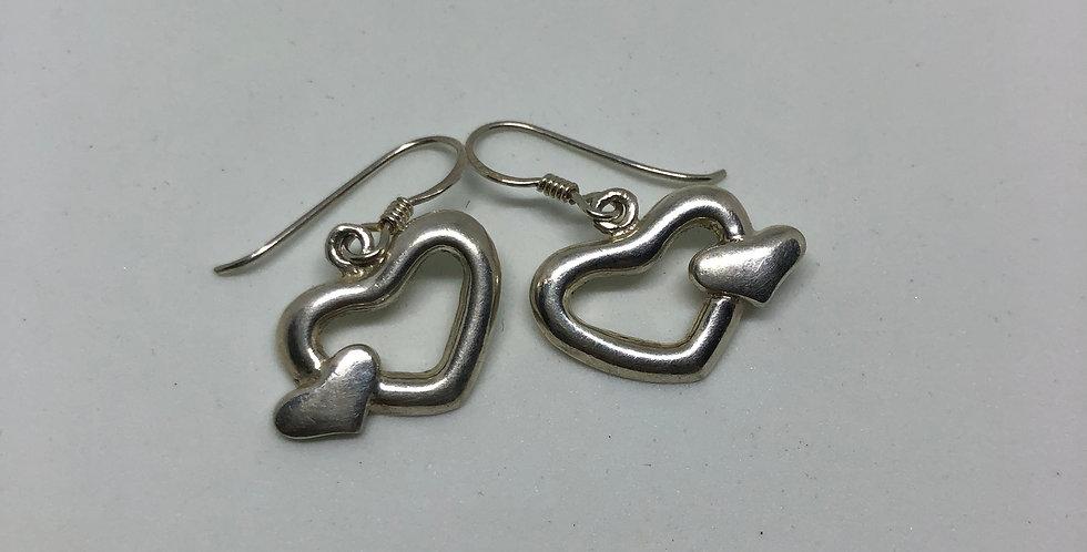 Hearts Silver Earring