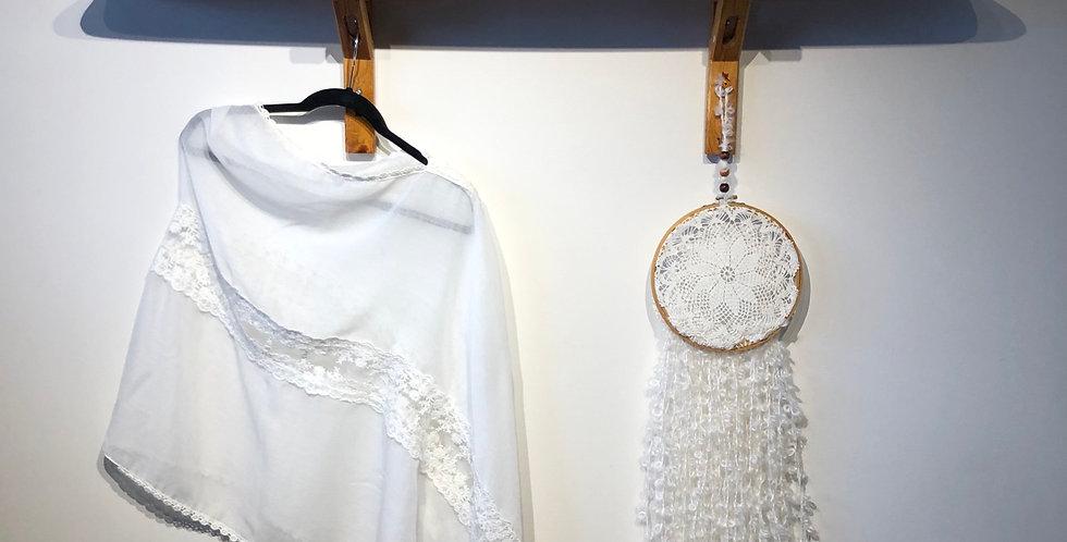 Cotton & Lace Draped Shawl