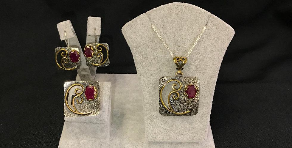 Turkish Handmade Hammered Ruby Silver Set