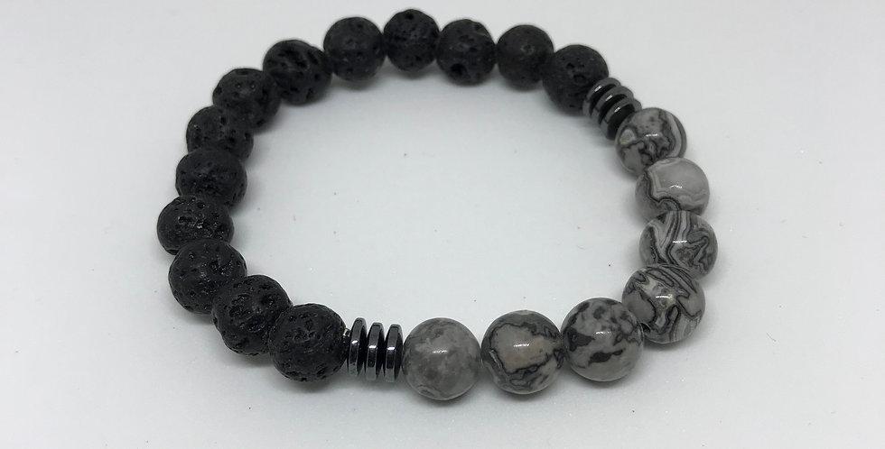 Jasper & Hematite & Lava Bracelet