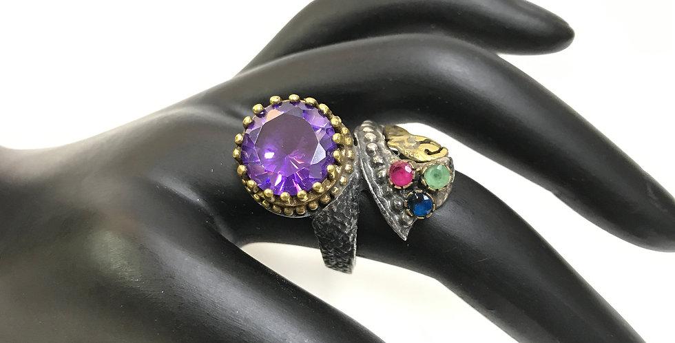 Turkish Handraft Amethyst-Ruby-Emerald-Saphire Silver Ring