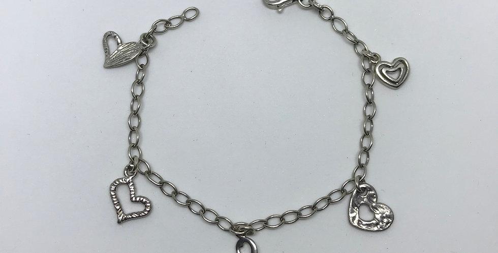 Hearts Charm Silver Bracelet