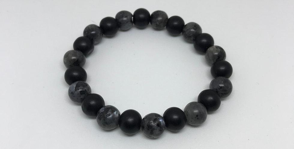Labradorite & Matte Onyx Bracelet