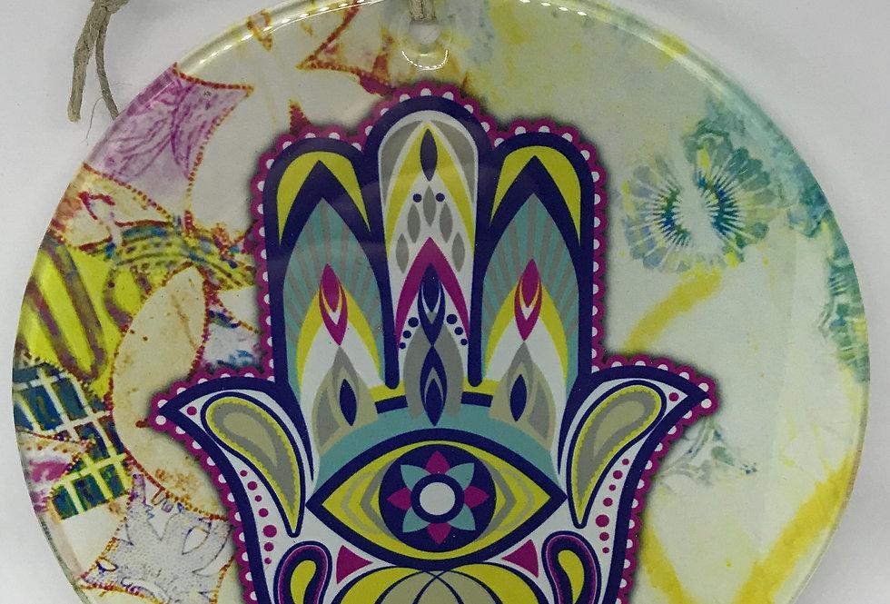 Glass Round Hamsa Wall Ornament