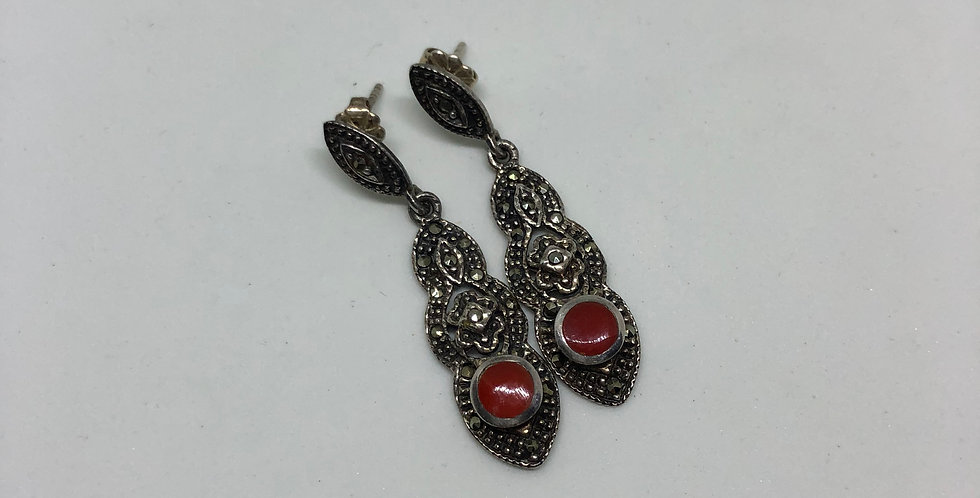 Agate and Marcasite Antique Silver Earring