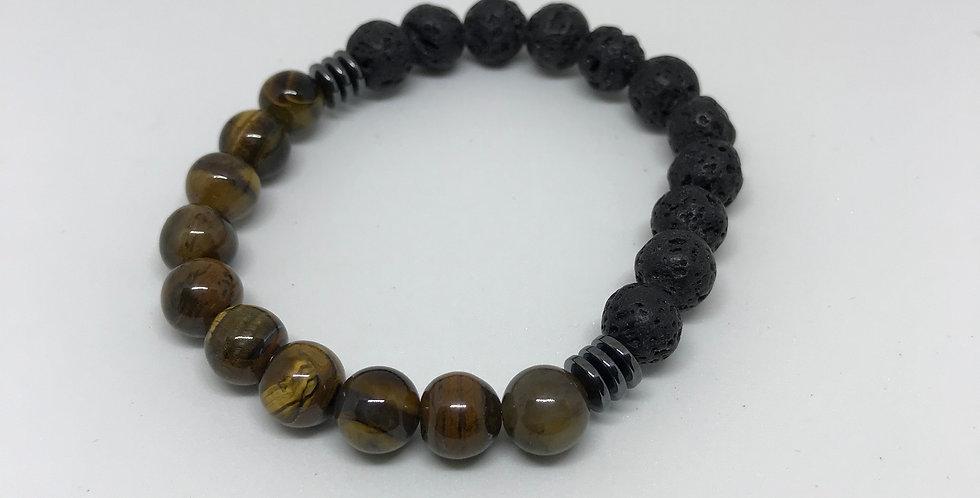 Shiny Tiger's Eye & Hematite & Lava Bracelet