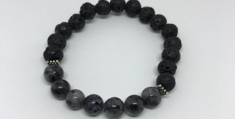 Dark Gray Labradorite & Lava Bracelet