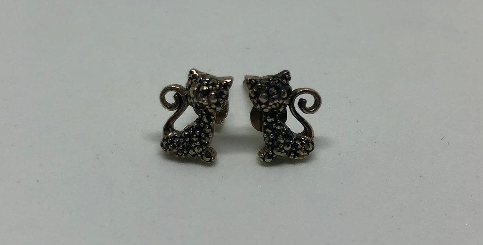 Cat Marcasite Silver Earring