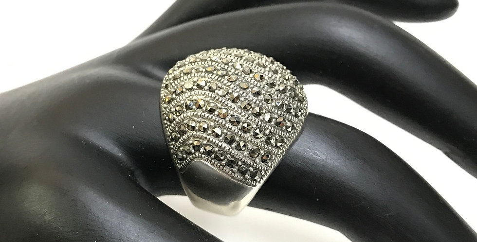 Marcasite Modern Silver Ring