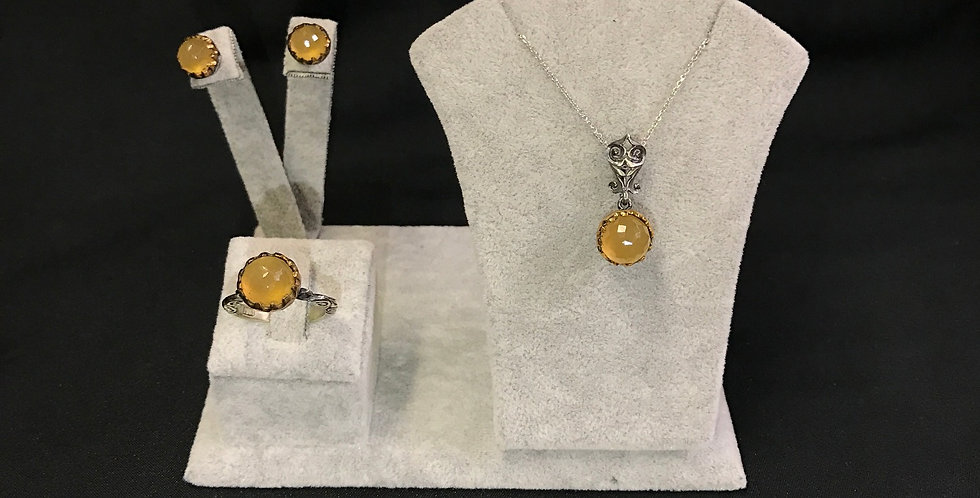 Elegant Turkish Handmade Topaz Silver Set