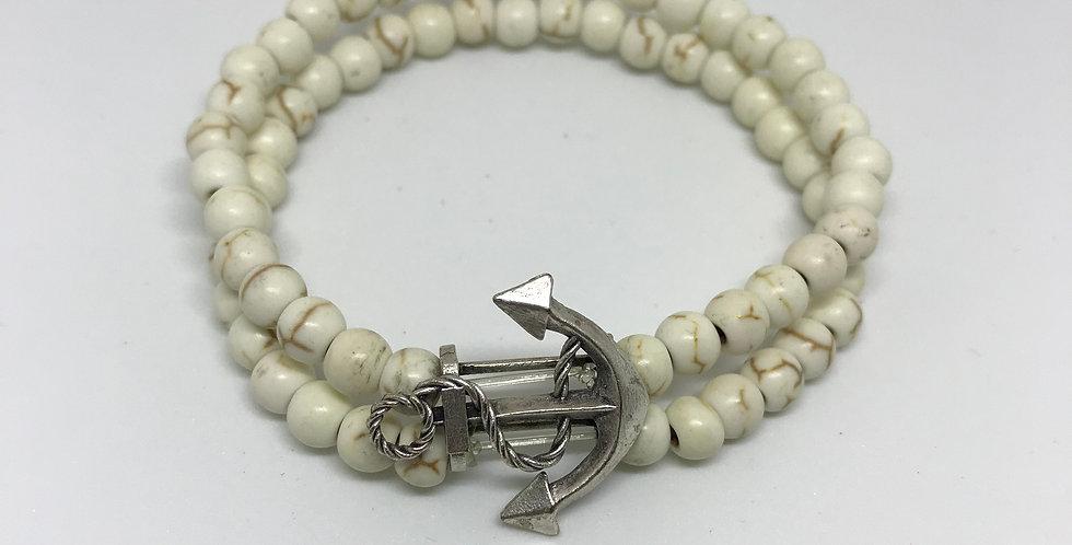 White Jasper & Anchor Bracelet
