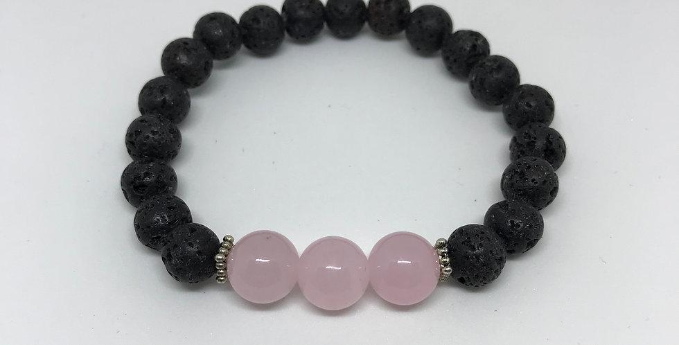 Pink Quartz & Lava Bracelet