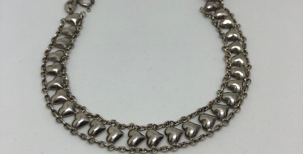 Hearts Antique Silver Bracelet