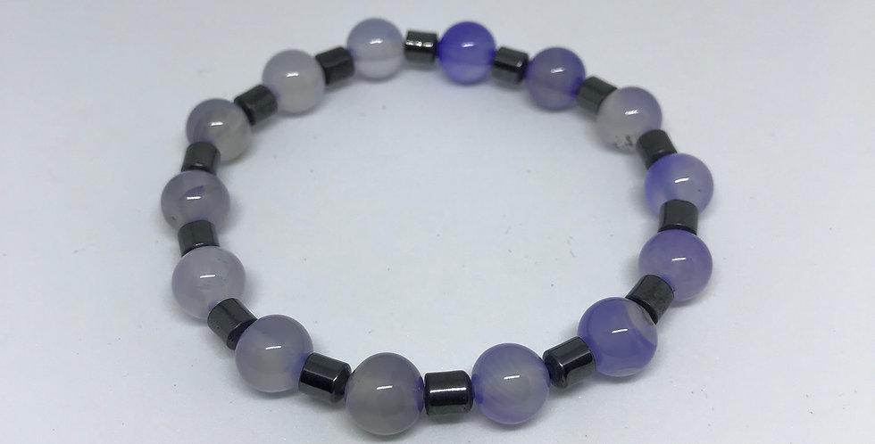 Purple Agate & Hematite Bracelet