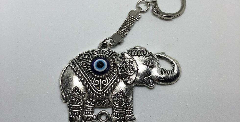 Metal Happy Elephant Keychain