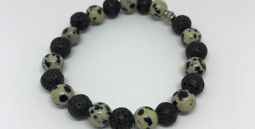 Dalmatian Jasper & Lava Bracelet