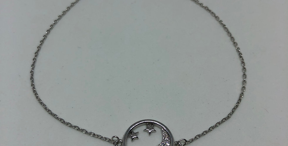 Moon & Stars Silver Bracelet
