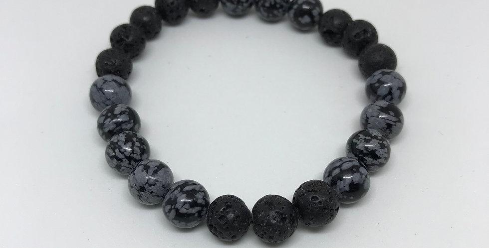 Obsidian & Lava Bracelet