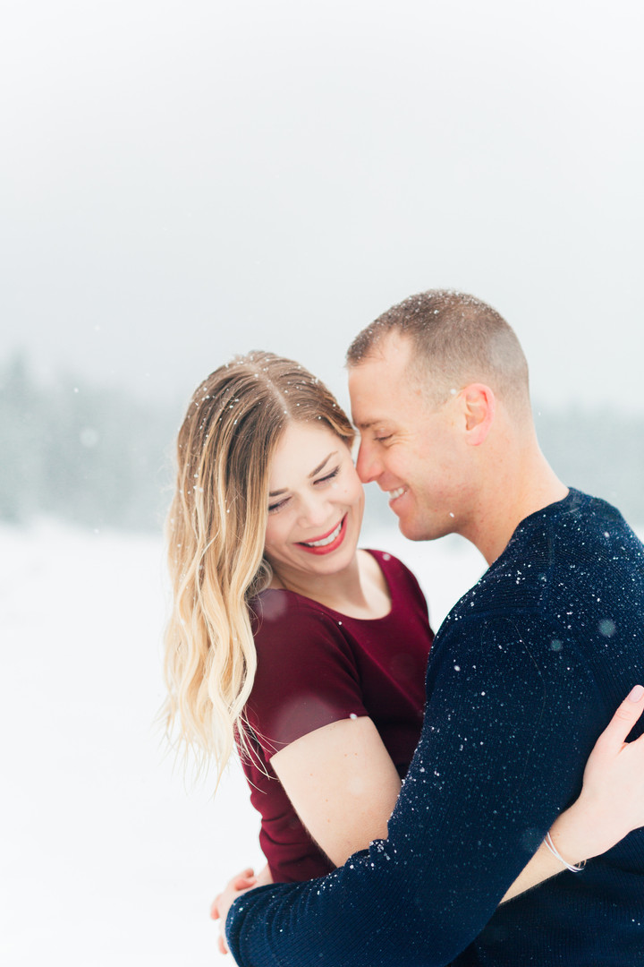 Winter Engagement Session-Snow Photo Session-Gold Creek Pond Photography-Something Minted