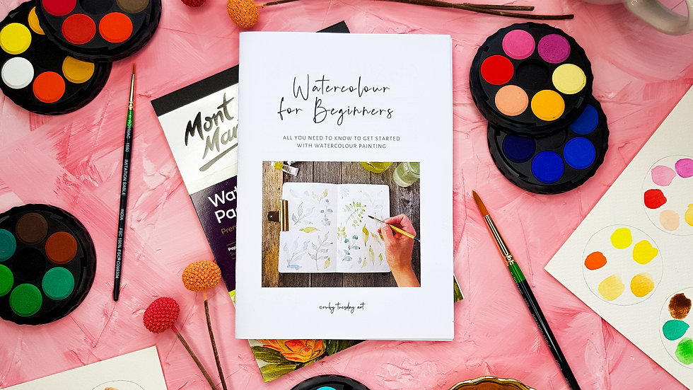 Watercolour Art Kit for Beginners Featuring Booklet, Paints, Brushes and Watercolour Paper