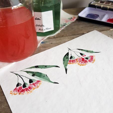 Watercolour for Beginners: flowering gum tutorial