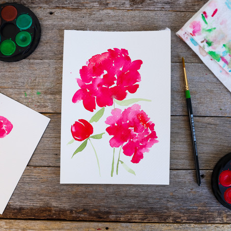 Watercolour Peonies - Step-By-Step Tutorial (yay!!!)